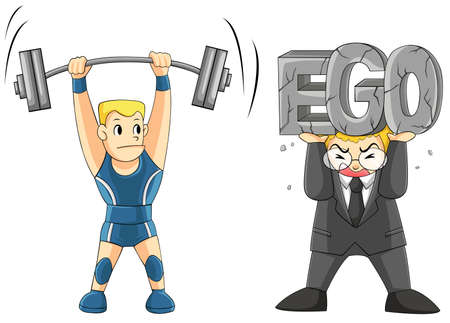 negativity: Two men are lifting some weight, one is a weightlifting but another is carrying his EGO   vector
