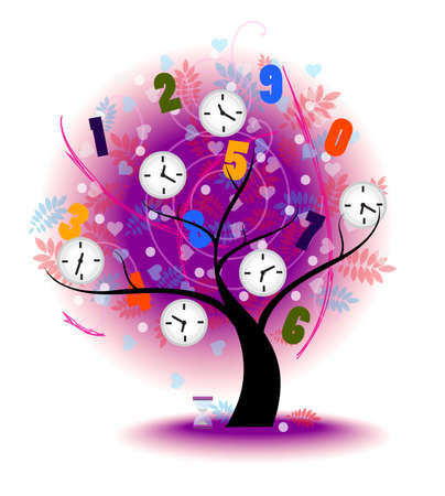 Tree of time  A big tree with time symbol on the branches, create by vector Vector