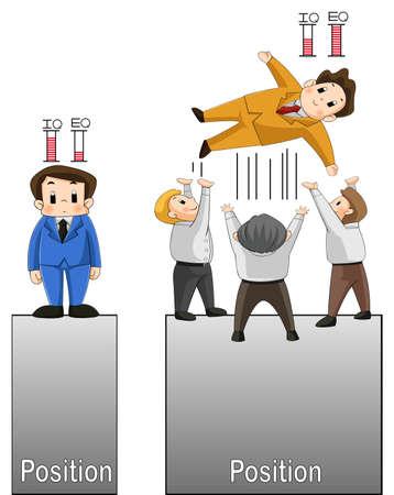 eq: IQ frente EQ Dos hombres est�n comparando su trabajo y posici�n de vida mediante el uso de IQ y EQ como un factor exitoso, y se puede ver hasta qu� punto se puede tomar