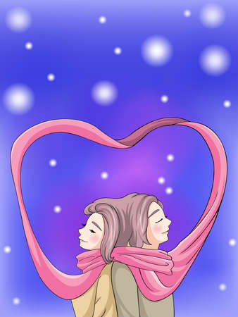 Cute couple bonding in winter scene with their scarf, vreate by vector Illustration