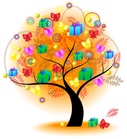 Tree of colorful gifts A big stylish tree with gifts and presents on the branches for seasonal usage, create by vector