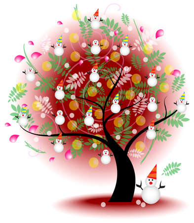 Tree of winter snow  A big stylish tree with cute winter symbol on the branches for seasonal usage, create by vector Vector