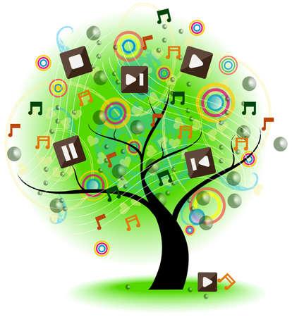 Arbre de la musique Un grand arbre avec le symbole de la musique sur les branches, créer par le vecteur
