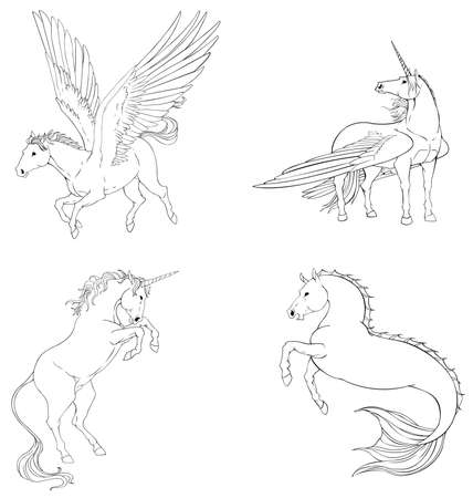 vigorous: Fantasy horse collection set in black and white vector design, especially for children or designers to color it themselves