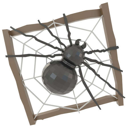 Black crystal spider in a wooden nest, create by 3D photo