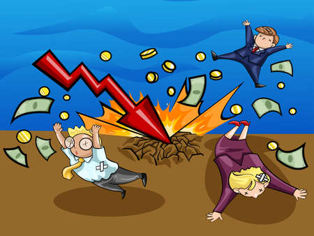 wealthy man: Crash of economic downturn  A lighting of economic recession graph strike the ground and kill all businesspeople  Create by vector Illustration