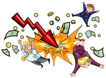 Crash of economic downturn in isolated background  A lighting of economic recession graph strike the ground and kill all businesspeople  Create by vector Illustration