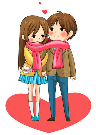 Cute couple sharing their warmth in winter with their scarf in white background, vreate by vector Vector