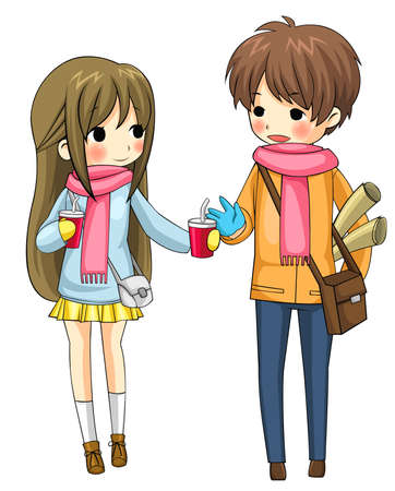 Cute couple sharing their drinks in winter in white background, create by vector Vector