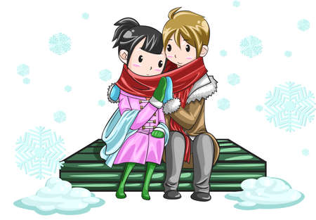 Cute couple sharing their warmth by hands in white snowy background, create by vector Vector