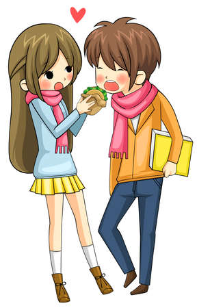 Cute girl is feeding hamburger to her boyfriend in white background, create by vector Vector
