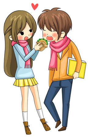Cute girl se nourrit hamburger à son petit ami en arrière-plan blanc, créer par le vecteur