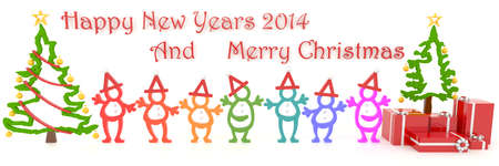 3D Santa and people symbol celebrating Christmas with text greeting for year 2014 in white background