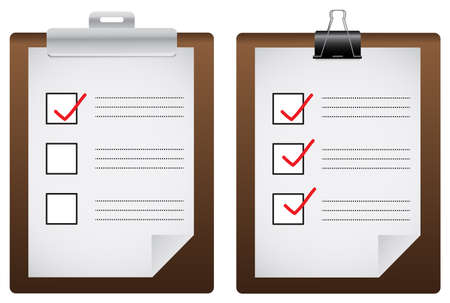 corrections: Two check list board icons, create by vector