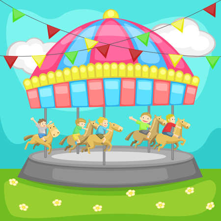 Children having a good time in a carousel, create by vector Vector