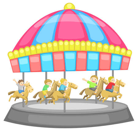 Children having a good time in a carousel with white background, create by vector Vector
