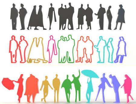 characteristic: Sets of silhouette and colorful people in various characteristic, create by 3D Stock Photo