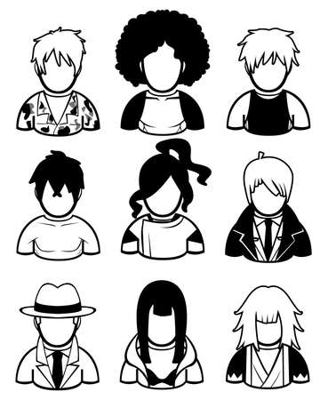 afro hair: Silhouette men icon set in different costume style and era , create by vector