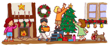 Kids decorating the room to celebrate Christmas, create by vector