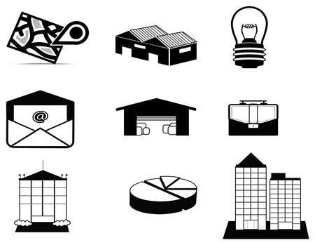 inventario: Log�stica de la silueta y del estado del conjunto de recopilaci�n icono, crear por el vector