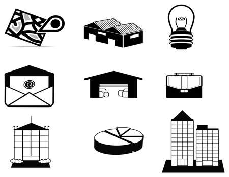 inventory: Silhouette logistic and estate icon collection set, create by vector