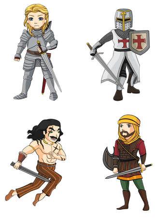 다양한 문화에서 전사 (4) 기사의 구성 설정, 페르시아어, 십자군, 셀틱 전사 모든 벡터에 의해 생성