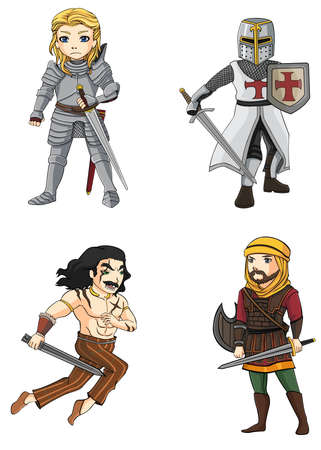 Warriors from various culture set 4 consists of knight, Persian, Crusader, and Celtic warrior  All create by vector Çizim