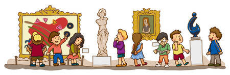 cartoon school girl: Children are having an educational study at the art gallery museum, create by vector Illustration