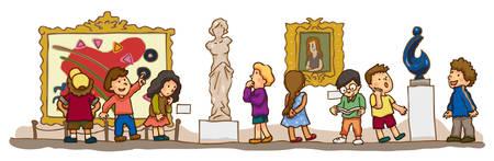 Dzieci posiadające badania edukacyjne w muzeum galeria sztuki, tworzenie przez wektor Ilustracje wektorowe