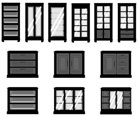 Sets of silhouette cabinets Vector