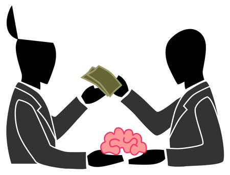 A person is selling his own brain to another person  This can be the concept of outsourcing or anything about creativity Vector
