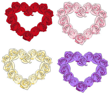 Rose hearts collection set, create by vector Stock Vector - 23896002