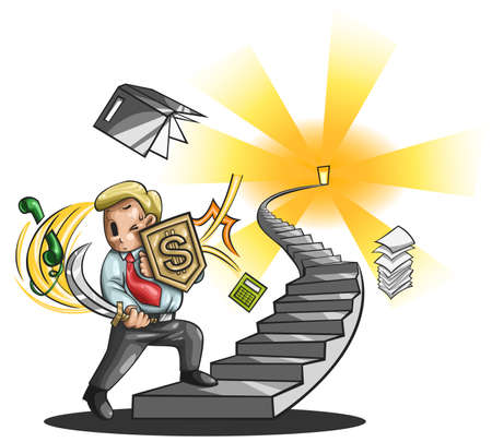 walking path: Path to a great businessman  An businessman is walking up the stairs fighting every obstacle in the way, create by vector