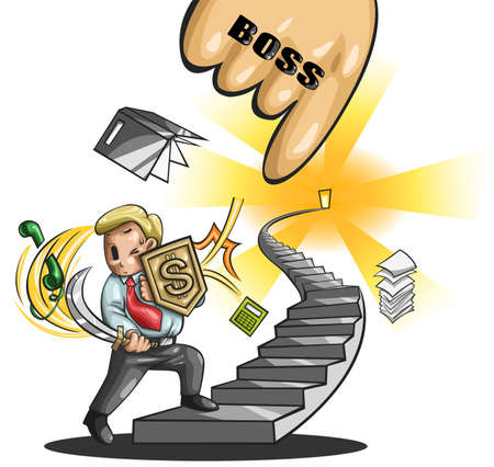 salary man: Path to a great salary man  An office guy is walking up the stairs fighting every obstacle in the way
