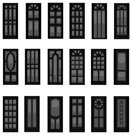 baroque gate: Sets of silhouette doors, create by vector  Illustration
