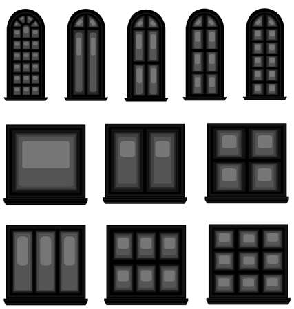baroque gate: Sets of silhouette windows in vintage style, create by vector  Illustration