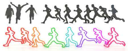 isolation: Sets of rough sketch silhouette and colorful running people in various characteristic, create by 3D Stock Photo