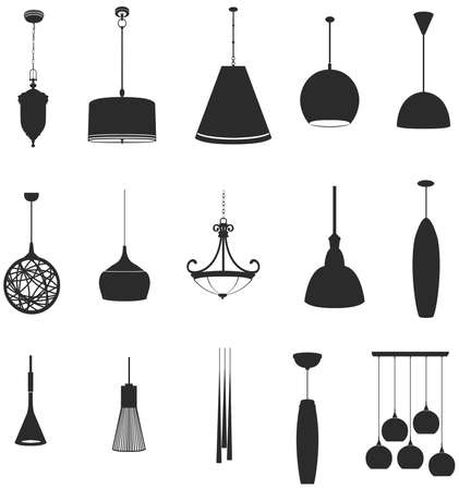 chandeliers: Sets of silhouette lamps 2 in isolated background, create by vector.