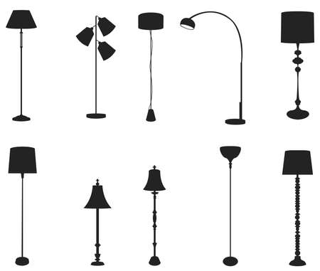 Los conjuntos de lámparas de pie silueta de aislamiento, crear por el vector