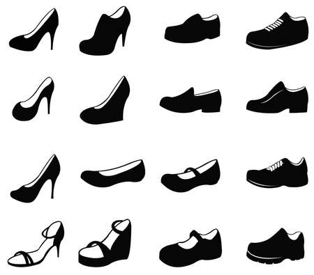 high heeled: Set of silhouette shoes icon, create by vector Illustration
