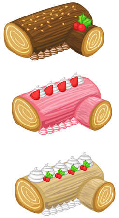 Log cake for Christmas set Stock Vector - 24589820