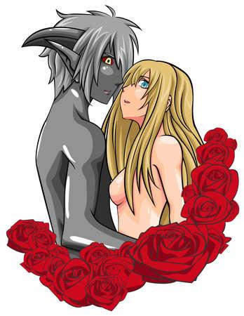Ein Mensch und D�mon Paar steht vor im Rosenrahmen, durch den Vektor erstellen