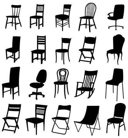Sets of silhouette furniture 2, create by vector  Vector