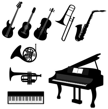 classical music: Set of silhouette musical instrument icons, create by vector