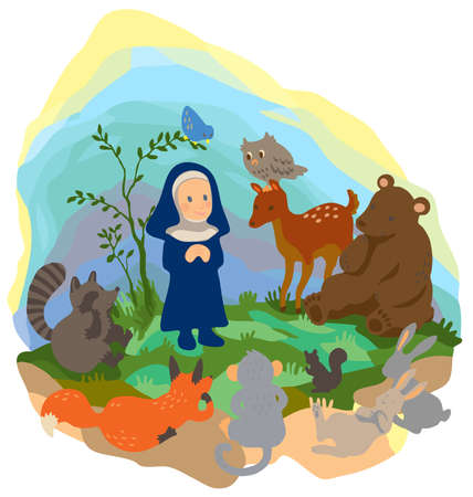 A little buddha is preaching truth to animals in the wood, create by vector