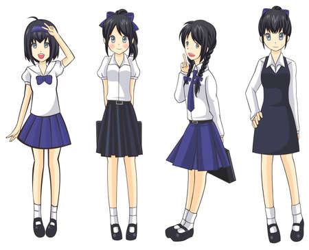 cartoon school girl: Cute Thai schoolgirls collection set 1, create by vector Illustration