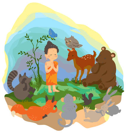 A little buddha is preaching truth to animals in the wood Vector