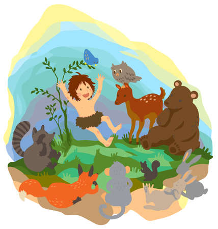 A cute jungle boy is reading book to animals in the wood, create by vector  Vector
