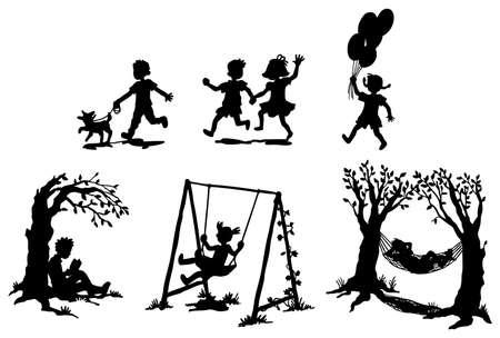 kind spielen: Sets der Silhouette Kinder in Entspannung Illustration