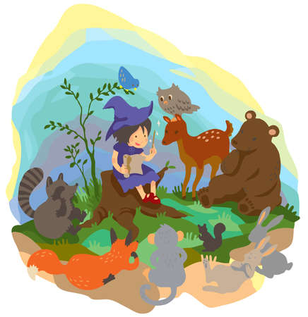 A cute little witch is teaching magic to animals in the wood Vector